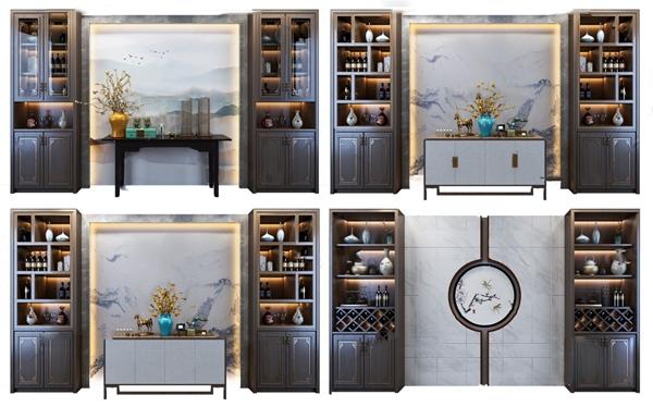 新中式端景台端景柜酒柜3D模型【ID:148244033】