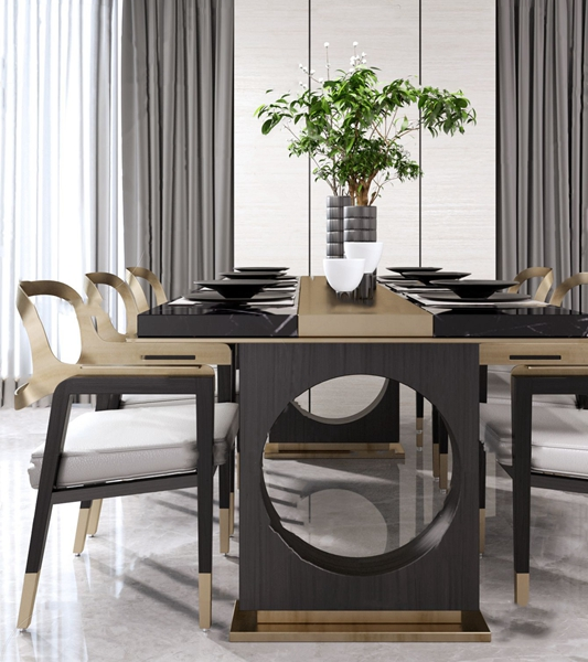 新中式条形餐桌椅3D模型【ID:848244827】