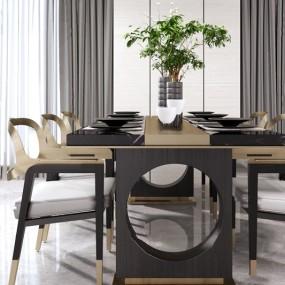 新中式條形餐桌椅3d模型【ID:848244827】