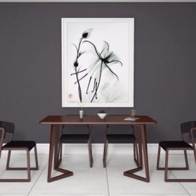 新中式实木餐桌椅3D模型【ID:328442412】