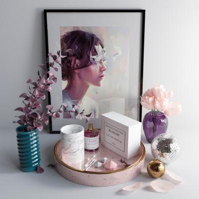 現代化妝品花瓶花卉裝飾畫擺件3D模型【ID:928559161】