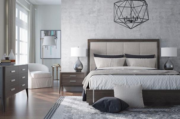美式床具床头柜组合3d模型【ID:728311089】
