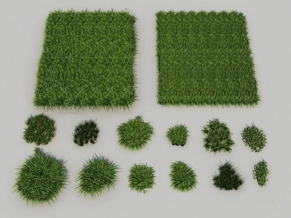 现代杂草草坪3D模型【ID:247180820】