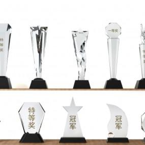 现代水晶玻璃奖杯摆件组合3D模型【ID:928563184】