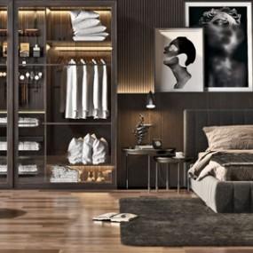 现代风格卧室家具组合 3D模型【ID:841471758】