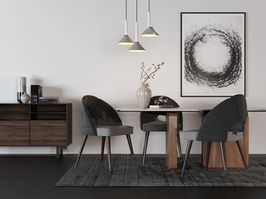 现代餐桌椅组合3D模型【ID:120607846】