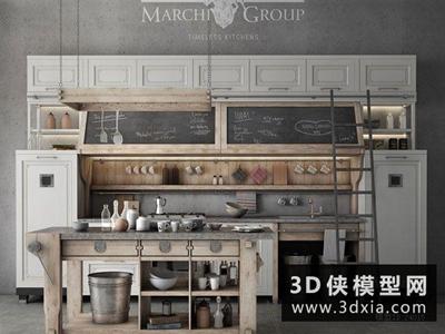 北欧厨柜国外3D模型【ID:829358061】