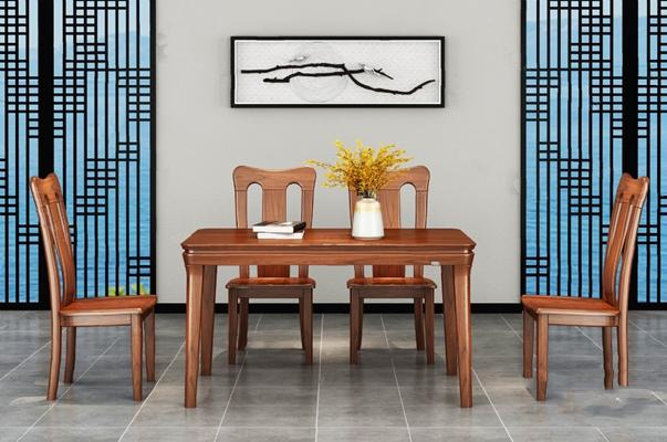 中式餐桌椅组合3D模型【ID:124884812】