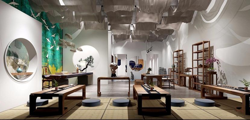 新中式家具展厅3D模型【ID:528009490】