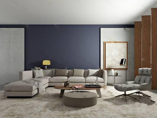 现代沙发茶几组合3D模型下载【ID:319402389】