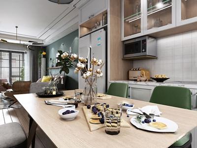 北欧客厅餐厅3D模型【ID:550471052】
