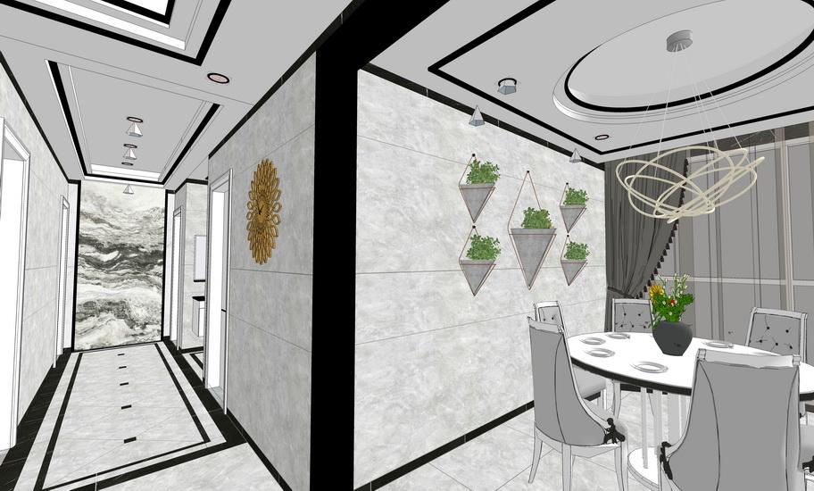 現代風格餐廳室內設計SU模型【ID:536378383】