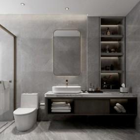 现代卫浴柜马桶组合3D模型【ID:141711882】
