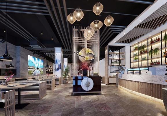 新中式餐厅3D模型【ID:828324583】