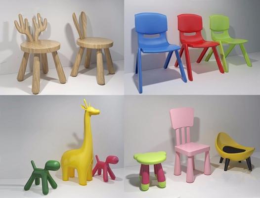 兒童凳子3D模型【ID:427988347】