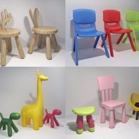 儿童凳子3D模型【ID:427988347】