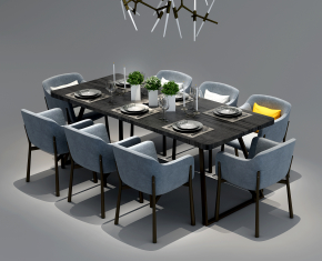 現代餐桌椅吊燈組合3D模型【ID:327785467】