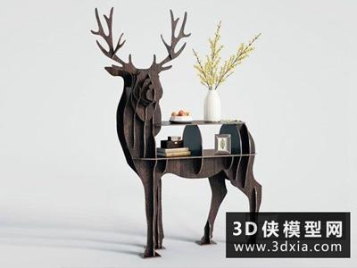 北歐裝飾柜國外3D模型【ID:829535079】