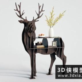 北欧装饰柜国外3D模型【ID:829535079】