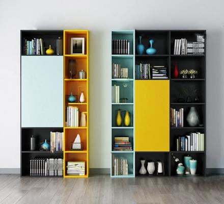 现代书柜3D模型【ID:920603513】