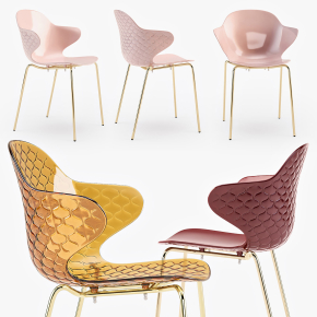 現代透明塑料單椅3D模型【ID:227780404】