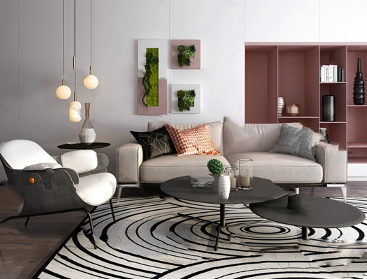 现代沙发茶几组合3D模型【ID:620613032】