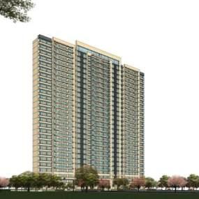 现代高层住宅SU模型【ID:245467761】