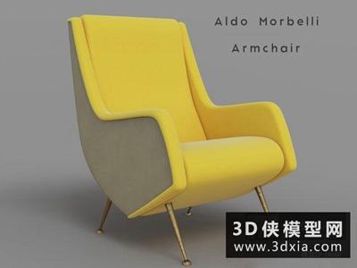 现代休闲椅国外3D模型【ID:729537868】