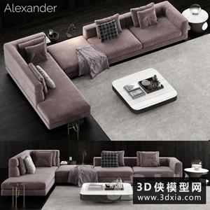 現代轉角沙發國外3D模型【ID:729326608】