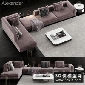 现代转角沙发国外3D模型【ID:729326608】
