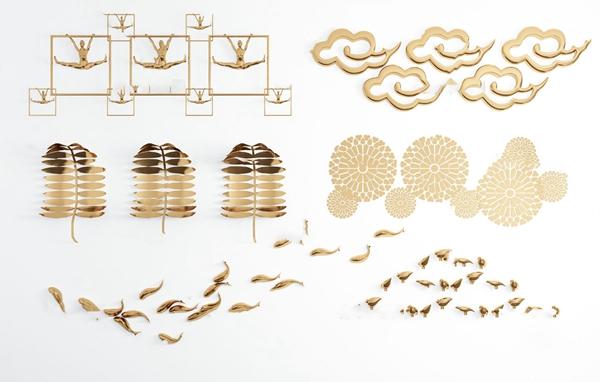现代金属树叶鱼小鸟祥云墙饰挂件3d模型