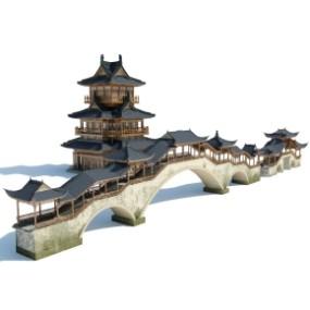 中式古建筑廊桥塔楼古城楼365彩票【ID:927819573】