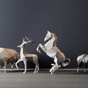 现代几何面动物摆件3D模型【ID:928183194】