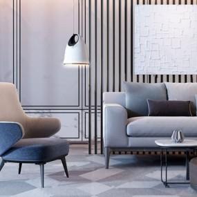 现代极简双人沙发单人沙发组合3D模型【ID:931440715】