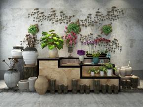 新中式陶罐花瓶花卉組合3D模型【ID:127752866】
