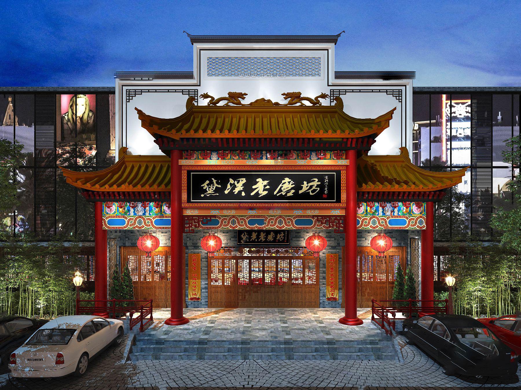中式古建建筑门头3D模型【ID:242180450】
