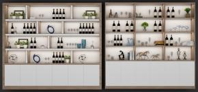 现代酒柜摆件组合3D模型【ID:927824031】