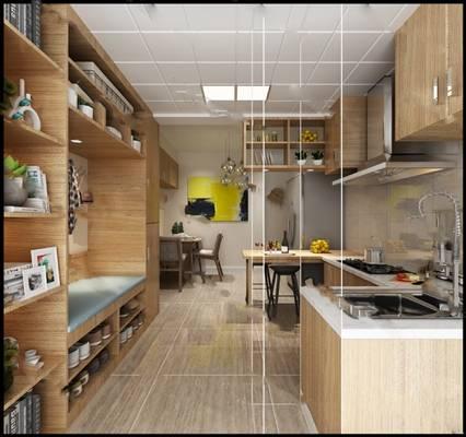 现代厨房3D模型【ID:519616069】