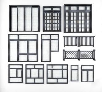 現代鋁合金門窗組合3D模型【ID:720817601】