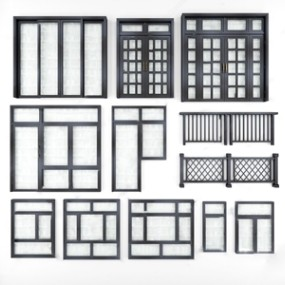 现代铝合金门窗组合3D模型【ID:720817601】