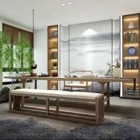 新中式茶室3D模型【ID:328243795】