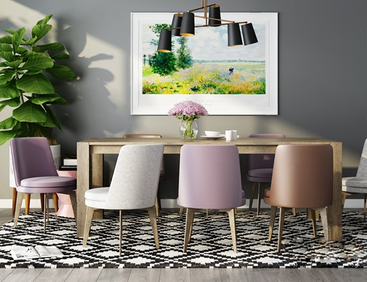 现代餐桌椅组合3D模型【ID:120617859】