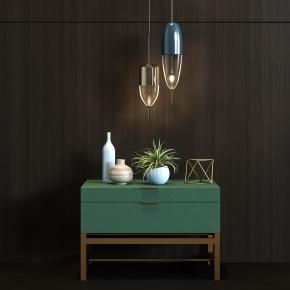 现代金属皮革床头柜吊灯饰品组合3D模型【ID:927828644】
