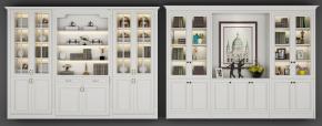 欧式简约实木书柜书籍摆件组合3D模型【ID:927821525】