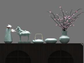 新中式端景台陶瓷摆件组合3D模型【ID:927824102】