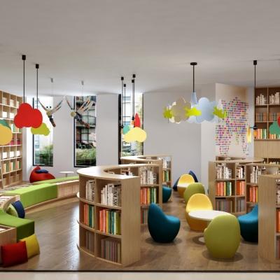 现代图书室3D模型【ID:827815217】