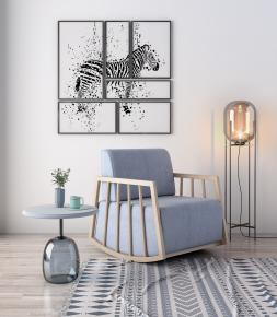 北欧休闲摇椅圆几灯具摆件组合3D模型【ID:227779430】