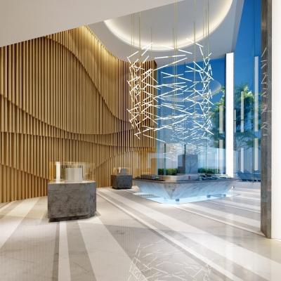 现代售楼处大厅外观3D模型【ID:427795566】