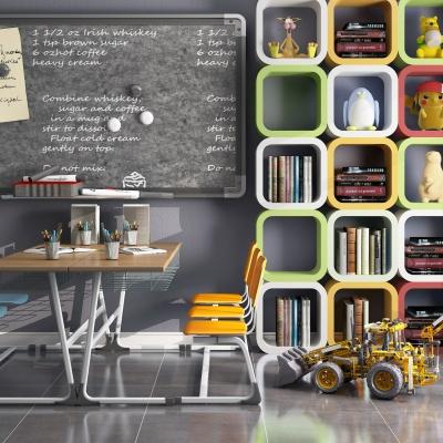 现代儿童教室黑板桌椅柜子摆件组合3D模型【ID:927836222】