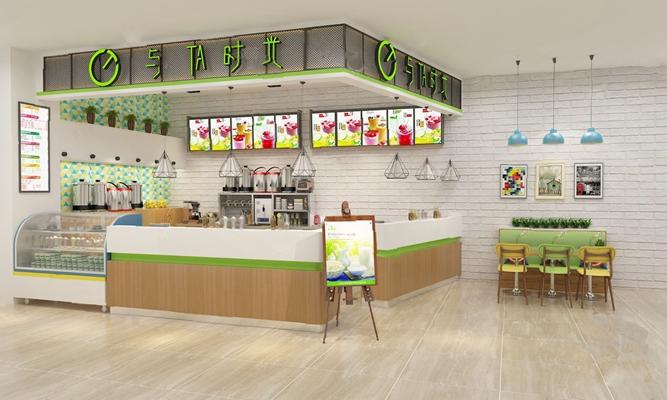 奶茶店3D模型【ID:620025089】